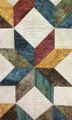 I like the quilting on this Carpenter's Star quilt. I like the colors too. Long Arm Quilting Machine, Machine Quilting Designs, Quilting Projects, Quilting Ideas, Crochet Projects, Sewing Projects, Quilting Rulers, Longarm Quilting, Free Motion Quilting