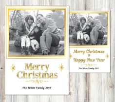 Christmas photo postcard - Framed family photo yearly card - New year postcard /poster - Black and white photo- gold text christmas card by miHappyDay on Etsy