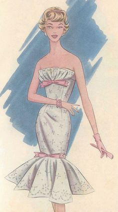 1950s Vintage Sewing Pattern B36-B37 Dress (R786)