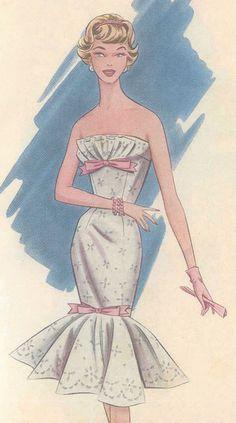 1950s Vintage Sewing Pattern B36-B37 Dress (R786)