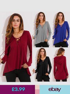 4c29dfbdbce632 Tops   Shirts Uk Zanzea Women Hooded V Neck Lace Up Long Sleeve Sweatshirt  Top Hoodie