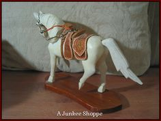 WOOD HORSE Small White Desk Or Shelf Decoration With Wooden Saddle Junk 948  http://ajunkeeshoppe.blogspot.com/