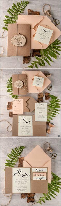 Rustic country burlap and wooden stump peach wedding invitations @4LOVEPolkaDots