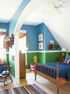 Kid's Bedrooms: Boy's Bedrooms - love the blue + green #kidbedrooms