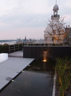 Rooftop garden in Antwerp with water feature and bench with integrated lighting. Design by Belgium based landscape designer Vitalis.
