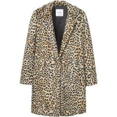 Leopard Faux-Fur Coat ($100) ❤ liked on Polyvore featuring outerwear, coats, faux fur lined coat, faux fur coat, leopard coat, fake fur coats and brown coat