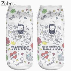 Socks  Zohra Hot Sale Funny Tattoo Full Printing Women Low Cut Ankle Sock Meias Cotton Hosiery Casual Slippers Calcetines Socks -- This is an AliExpress affiliate pin.  Item can be found on AliExpress website by clicking the VISIT button