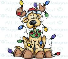 All Tangled Up Reindeer - Christmas Images - Christmas - Rubber Stamps - Shop