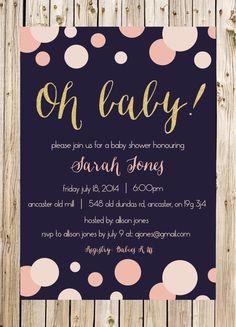 Baby Shower Invitation, New Baby, Dots, Bubbles, Navy, Pink, Blush, White, Gold, Glitter, Confetti