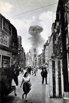 Historical Times | A V-1 flying bomb lands in a street off Drury Lane, London 1944