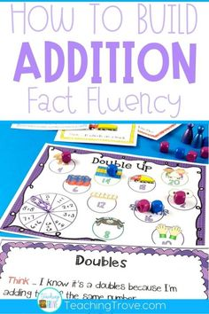 Addition games provide hands-on practice for learning addition strategies. Introduce the strategy with an anchor chart then engage your first-grade students with fun math games that help improve their fact fluency. Perfect for homeschoolers too! #additionstrategies  #additiongames