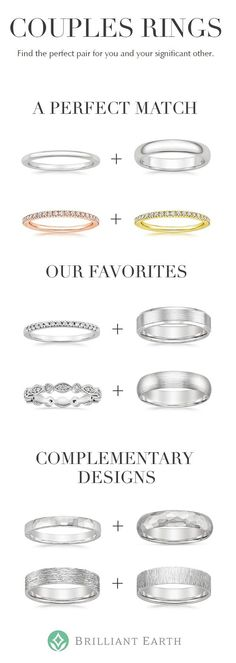 These matching wedding rings are exact companions for you and your partner. Stay in sync with matching his and hers or same-sex wedding bands in the same style, or pick the same dazzling ring in different metals. Choose a classic white metal, a trendy rose gold ring pair, or a gold toned duo.