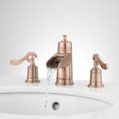 Melton Widespread Waterfall Bathroom Faucet - Overflow - Antique Copper