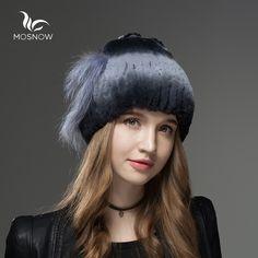 42.99$  Watch here - http://ali7ne.shopchina.info/go.php?t=32795831289 - Mosnow 100% Real Rex Rabbit Fur  Winter Hats Fox Fur Heart-Shaped Decoration Knitted Vogue Women Hat Female Skullies Beanies 42.99$ #buyininternet