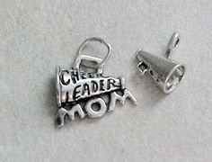 Sterling Silver Cheerleader Mom and Megaphone Charms