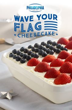 Happy Birthday, America. This 4th of July, may all your cheesecake wishes come true. Made with PHILADELPHIA Cream Cheese, Strawberry JELL-O, strawberries, blueberries, pound cake, sugar and COOL WHIP.
