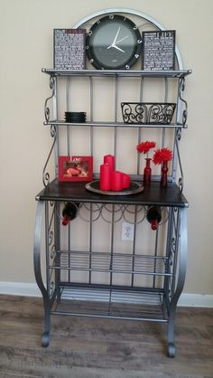 I spray paint this Bakers Rack dark steel and i love it.