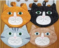 """Have a little fun with Allie Cats! Pattern pieces and instructions are included to sew up some really CUTE Cat Pot Holders or Mug Mats. Super Quick & Easy!Approximate finished size: 7"""" x 9-1/2"""" (excluding ears)."""