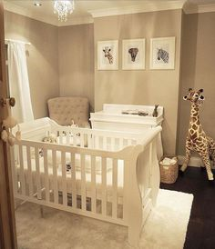 A simple yet effective gender neutral nursery! How stunning are the animal prints? Perfect to complement our Boori Sleigh cot bed and matching 3 drawer dresser. Baby Nursery Neutral, Baby Nursery Decor, Baby Decor, Nursery Room, Girl Nursery, Rustic Nursery, Animal Theme Nursery, Nursery Sets, Safari Nursery