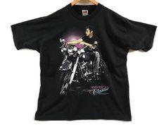 Elvis Presley Vintage T Shirt - XL - 1992 - 90s Clothing - Vintage Tee - EPE - Graceland - Biker Shirt - Rockabilly - Motorcycle - Harley - by BLACKMAGIKA on Etsy