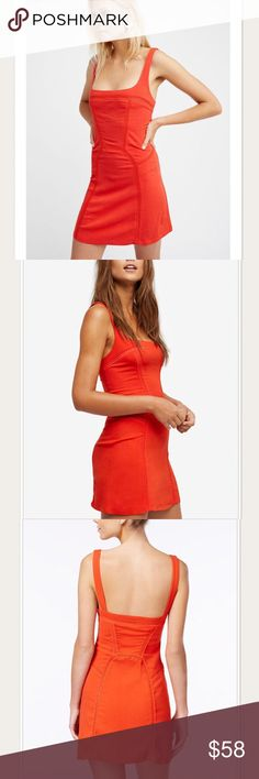NWT Free People Beyond Me Fit & Flare Dress Free People's flirty mini dress is designed with a playful open back, a plunging square neckline and embroidery knit trim. Unlined. Rayon, spandex; trim: cotton/spandex. Color: Red. Free People Dresses Mini