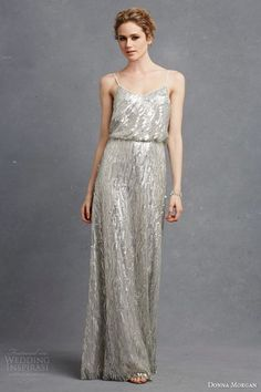 Wavy Sequined Bridesmaid Dress - 30 Most Classy Silver Bridesmaid Dresses - EverAfterGuide