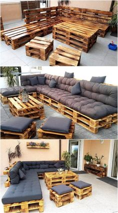 Wonderful Pallet Furniture Ideas and Tutorials – Wood Design - Diy furniture design Wooden Pallet Furniture, Pallet Wood, Pallet Couch Outdoor, Rustic Furniture, Cheap Furniture, Backyard Pallet Furniture, Garden Pallet, Pallet Sectional, Outdoor Lounge