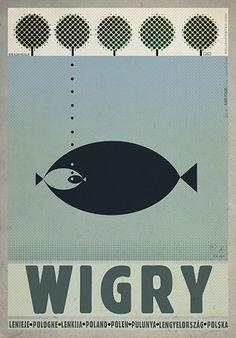 Wigry Lake - jezioro Wigry  Check also other posters from PLAKAT-POLSKA Original Polish poster autor plakatu: Ryszard Kaja  data druku: 2014 wymiary plakatu: B1 ok. 68x98cm
