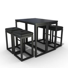 Black Kitchen Table Set arrangement black chairs furniture kitchen seating, ready for animation and other projects