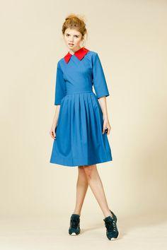 Aquamarine blue woolen dress with red detachable by mrspomeranz, £335.00