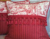 French Country Christmas Pillow, Red Toile Decorative Throw Pillow, Red Stripe, High End, Tassel Fringe, Cottage Decor, English, Decor