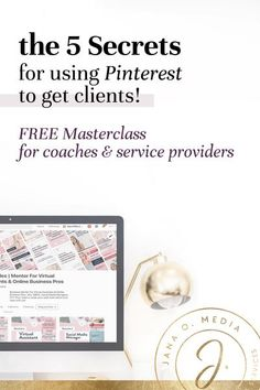 Pinterest marketing can connect you to your perfect coaching clients – those action-taking women who are ready to pay for what you have to offer! Ready to learn more? Head on over to my FREE MASTERCLASS –  5 Secrets for Getting Clients with Pinterest for Business! Free Pinterest course and tutorial about how to get coaching clients using Pinterest marketing. For health coaches, life coaches, service providers and coaches who use social media to get clients. Pinterest Advertising, Pinterest Marketing, Social Media Tips, Social Media Marketing, Content Marketing, Coach Website, How To Get Clients, Online Marketing Strategies, Online Coaching