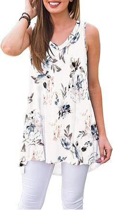 WNEEDU Women's Summer Sleeveless Tunic Casual V-Neck T-Shirt Tank Tops Blouse at Amazon Women's Clothing store