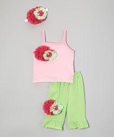Look at this #zulilyfind! Pink & Fuchsia Flower Tank Set - Infant, Toddler & Girls #zulilyfinds