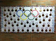 February Birthday Bulletin Board -Gold Medals in honor of the 2014 Winter Olympic Games! This board was a huge hit at my sons' school!