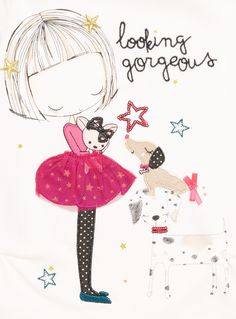 This fun and pretty little top is a lovely option for updating her casual wardrobe. In white, this comfortable classic fit tee has a round neckline and long, floral patterned sleeves, with a beautiful girl and pooch print on the front complete with stars and 'looking gorgeous' lettering for a look she'll really love.<br /><ul><li>Girls white gorgeous pooch top</li><li>Round neckline</li><li>Long floral sleeves</li><li>Girl and pooch print</li><li>Lettering design</li><li>Keep away from…