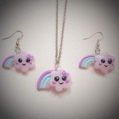 parure collier et boucles nuages Kawai : Parure par candies-boutique83