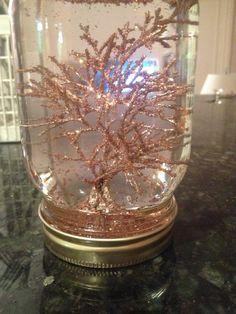 Homemade snow globe!  Mason jar Spray paint Glitter Hot glue Foil