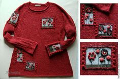 Lena Statkevich, Do not be sad ))) Red White And Boom, Wool Embroidery, Knitting For Kids, Knit Fashion, Crochet Clothes, Cardigans For Women, Knitwear, Knitting Patterns, Knit Crochet