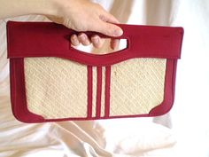 Vintage Red and Straw Clutch by jclairep on Etsy, $12.00