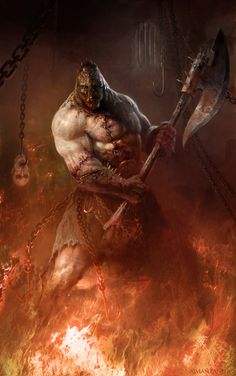 Infernal executioner by Manzanedo construct zombie undead flesh golem player character npc battleaxe axe torture chamber hell monster beast creature animal Dark Fantasy Art, Fantasy Artwork, Fantasy Paintings, Monster Concept Art, Monster Art, Arte Horror, Horror Art, Dungeons And Dragons, Zombies