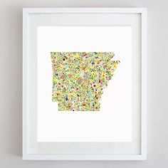 Arkansas State Floral Watercolor Art Print - Available in Any State