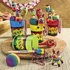 Fiesta Cinco de Mayo Party Fun Cups.  Each cup is filled with an assortment of gifts and make great favors your party guests will remember!