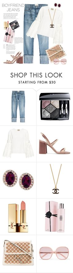 """Feminine in Boyfriend Jeans"" by ellie366 ❤ liked on Polyvore featuring Current/Elliott, Christian Dior, Sea, New York, Miu Miu, Effy Jewelry, Yves Saint Laurent, Viktor & Rolf, Chloé, boyfriendjeans and eyelet"