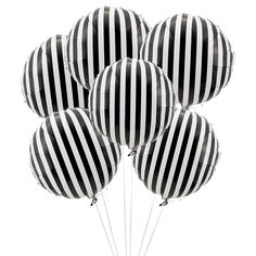 Black & White Striped Mylar Balloons - 6 Pk Party Supplies Canada - Open A Party