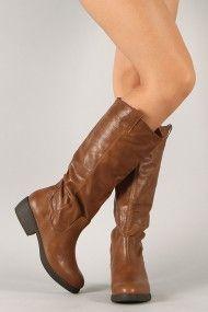 Qupid Prim-01 Round Toe Riding Knee High Boot