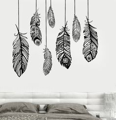Wall Vinyl Decal Feather Romantic Bedroom Dreamcatcher Decor (z3684)