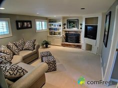 Everyone gathers to watch TV and talk, need a living room that allows this. love this family room House, Family Room, Home, Basement Remodeling, Family Living Rooms, House Styles, New Homes, Home Deco, Home And Living