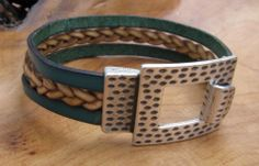 Leather Bracelet with Large Textured Buckle @Lindy Faulkner Faulkner Faulkner's Designs  www.facebook.com/lindysdesigns www.lindysdesigns.com