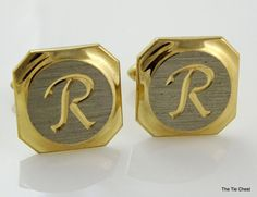 Vintage Two Tone Cufflinks with the Letter R Initial | The Tie Chest